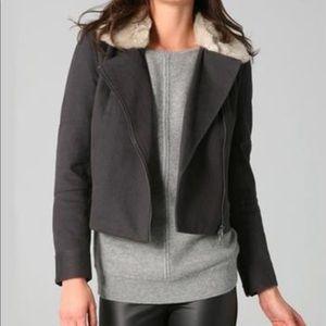 Club Monaco Gray Faux Fur Collar Twill Moto Jacket